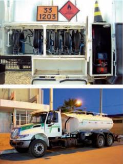 Aplicação da mangueira para descarga de gasolina e diesel