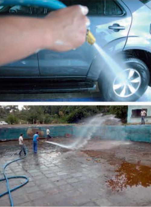 aplicação mangueira lavar autos